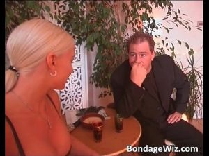 German couple play with sexy blonde girl