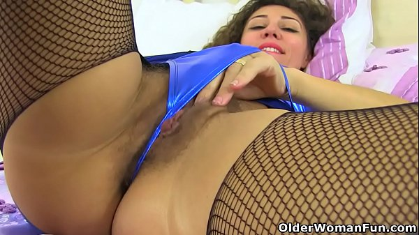 Hairy milf French Chloe wears crotchless fishne…